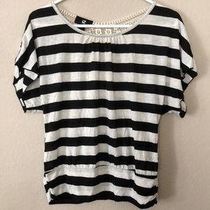 IZ Byer Black and White Striped Balloon Blouse